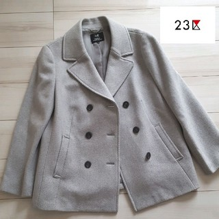 ニジュウサンク(23区)の23区 大きいサイズ48 羊毛Pコート グレー(ピーコート)