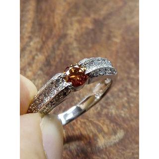 写真よりも鮮やか!この色!オレンジダイヤ!Pt900オレンジダイヤリング 14号(リング(指輪))