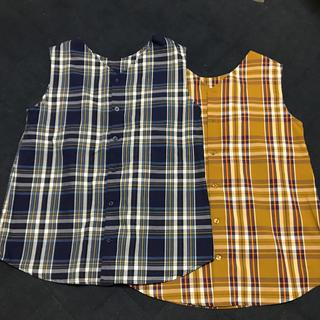 ジーユー(GU)のチェック柄トップス(シャツ/ブラウス(半袖/袖なし))