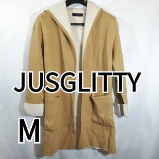ジャスグリッティー(JUSGLITTY)の美品 ジャスグリッティー ニットカーディガン フード付き Mサイズ ブラウン(カーディガン)