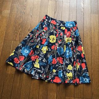 ローラアシュレイ(LAURA ASHLEY)の美品☆ローラアシュレイ 花柄 シルク100% スカート(ひざ丈スカート)
