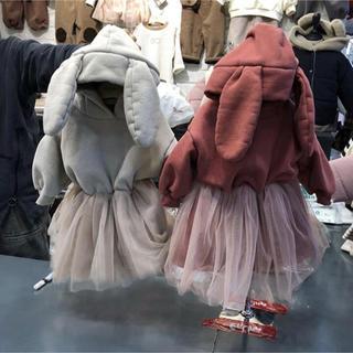韓国子供服 ふわふわうさぎさんのワンピース(ワンピース)