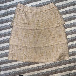 ロペピクニック(Rope' Picnic)のロペピクニック ツイードペプラムスカート 36 ゴールド/ベージュ(ひざ丈スカート)