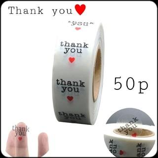 50枚♥️丸型*サンキューシール 2.5cm クリアー 透明 ビニールタイプ(カード/レター/ラッピング)