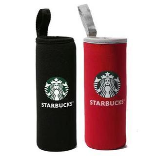 スターバックスコーヒー(Starbucks Coffee)のスターバックス ペットボトルカバー 2個セット レッド 黒 保温(収納/キッチン雑貨)