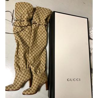 グッチ(Gucci)のGUCCIキャンバスハイブーツ(ブーツ)