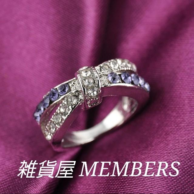 送料無料19号クロムシルバーアメジストスーパーCZダイヤデザイナーズリング指輪 レディースのアクセサリー(リング(指輪))の商品写真