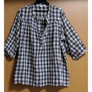 大きいサイズ チェック柄のオーバーブラウス 大きいサイズシャツ(シャツ/ブラウス(長袖/七分))