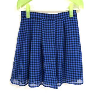 エヌナチュラルビューティーベーシック(N.Natural beauty basic)の青×黒ギンガムチェック フリルスカート(ミニスカート)