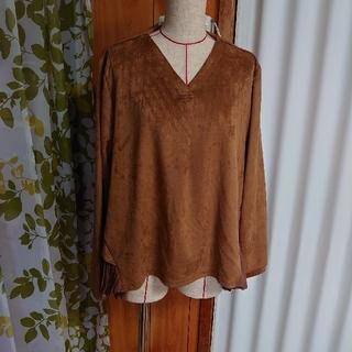 ベルーナ(Belluna)の大きいサイズ ブラウン 後ろがプリーツ カットソー(Tシャツ(長袖/七分))