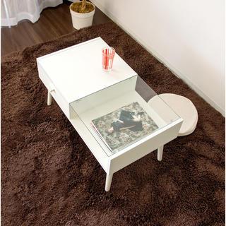開店記念セール◆ガラス天板×木製天板の大人気テーブル(ローテーブル)