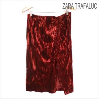 ザラ(ZARA)のZARA◆ザラ◆赤ベロア調ミディ丈スリットタイトスカート◆USA L(ひざ丈スカート)