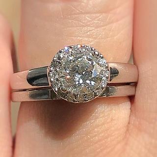 結婚指輪 指輪 リング 0.7カラット ルース 鑑定 ピアス ダイヤモンド(リング(指輪))