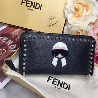 フェンディ(FENDI)のフェンディ 財布 スタッズ モンスター カーリト ラウンドファスナー メンズ 黒(財布)