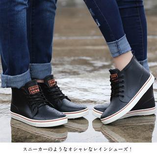 レインシューズ メンズ スニーカー風 レインブーツ 防水 シューズ 雨靴 ショー(レインブーツ/長靴)