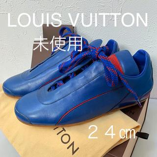 ルイヴィトン(LOUIS VUITTON)のLOUIS VUITTON レザースニーカー/ジャパンブルー限定品(スニーカー)