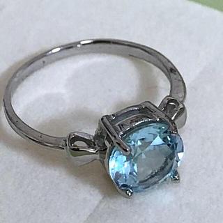 大粒できれいな 宝石 ブルートパーズ  未使用リング!(リング(指輪))