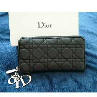 クリスチャンディオール(Christian Dior)のディオール 牛革 黒 長財布(長財布)