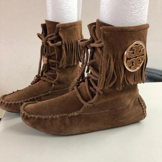 トリーバーチ(Tory Burch)のトリーバーチ 茶色 ショート ブーツ ロゴ 24(ブーツ)
