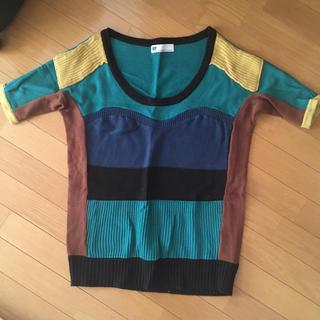 スライ(SLY)の【美品】SLY 半袖 ニット 配色ニット(ニット/セーター)