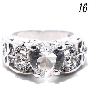W18 リング 16号 人工石 ホワイトサファイア フェザー(リング(指輪))