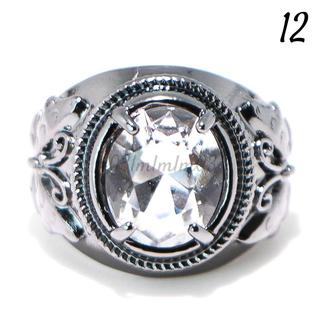 W20 リング 12号 人工石 ホワイトサファイア ブラックゴールド(リング(指輪))