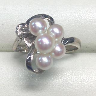 ★大きめの20号★K18WGあこや本真珠&ダイヤモンドリング★0.01ct(リング(指輪))