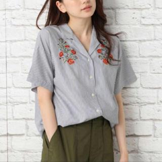 レプシィム(LEPSIM)の🧡ストライプ 花刺繍 シャツ(シャツ/ブラウス(半袖/袖なし))