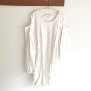 スライ(SLY)のsly ロングオープンショルダーロンt カットソー ホワイト 白(Tシャツ/カットソー(七分/長袖))