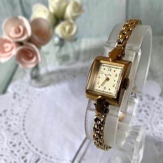 アガット(agete)の【電池交換済み】agete アガット 腕時計 スクエア ゴールド レディース(腕時計)