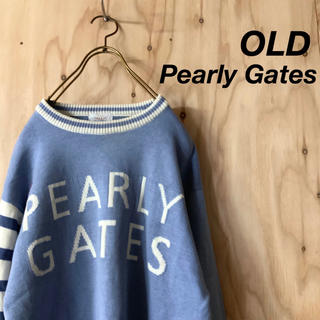 パーリーゲイツ(PEARLY GATES)の【希少】OLD Pearly Gates ビッグロゴ リンガー コットンニット(ニット/セーター)