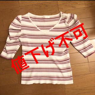 ミーア(MIIA)のMIIA パフ袖 ボーダートップス♡41(カットソー(半袖/袖なし))