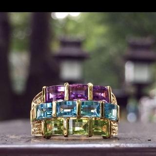 k18✨カットの美しいマルチカラーストーン ダイヤモンド リング ✨💍✨(リング(指輪))