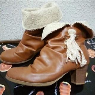 シマムラ(しまむら)のしまむら 2WAY レース キャメル ブーツ♥L ハニーズ(ブーツ)
