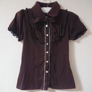 リズリサ(LIZ LISA)のリズリサ*襟付き ブラウス(ブラウン)(シャツ/ブラウス(半袖/袖なし))