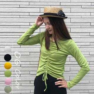 ♤【OneSize】ギャザーVネック Tシャツ ドローストリング (全6色)(シャツ/ブラウス(長袖/七分))