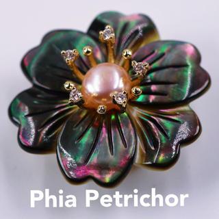 真珠母貝 帯留め  おびどめ 特上の黑蝶貝 希少な 留袖 パール TWO02(和装小物)