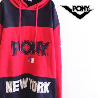 ポニー(PONY)の古着 ビッグロゴ プルオーバー  パーカー PONY ポニー 太ボーダー(パーカー)