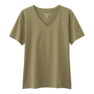 GU - GU マーセライズド Vネック 半袖 Tシャツ オリーブ XL