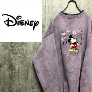 Disney - 【激レア】ディズニー☆ブリーチ加工ミッキーキャラクター刺繍ラインリブスウェット