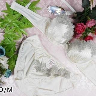 090★C70 M★美胸ブラ ショーツ Wパッド ベネチアレース シルバー(ブラ&ショーツセット)