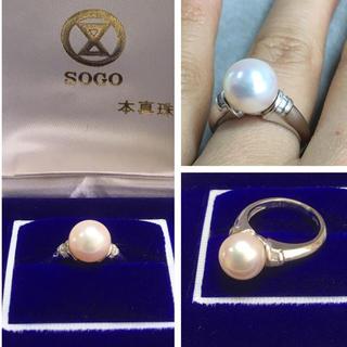 Pt900 9ミリのパールとダイヤモンドリング(リング(指輪))