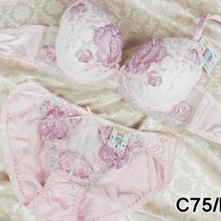 079★C75 M★美胸ブラ ショーツ Wパッド ローズ刺繍 ピンク(ブラ&ショーツセット)
