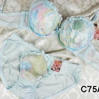 078★C75 M★美胸ブラ ショーツ Wパッド グラデーション 薄水色(ブラ&ショーツセット)