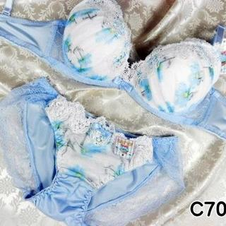 058★C70 M★美胸ブラ ショーツ Wパッド コスモス レース 水色(ブラ&ショーツセット)