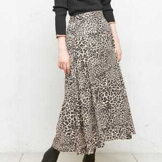 ナチュラルクチュール(natural couture)のnatural couture レオパード柄スカート(ロングスカート)