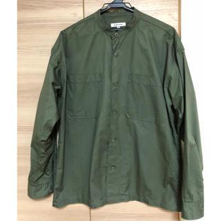 グローバルワーク メンズ バンドカラーシャツ グリーン