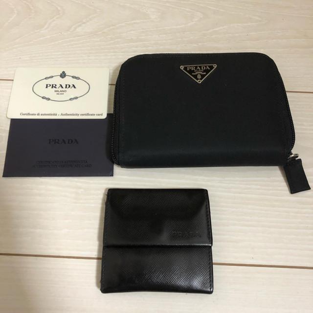 PRADA - プラダ PRADA 折財布 札入れとコインケース セット サフィアーノ ブラックの通販