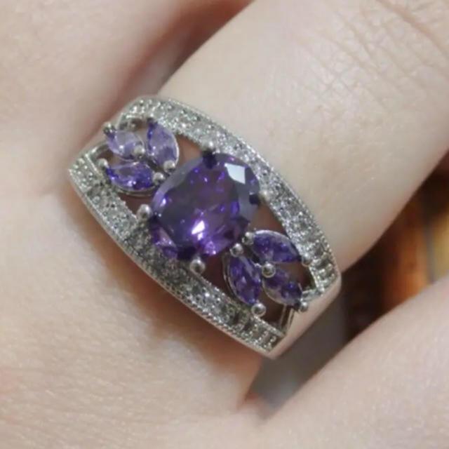 即購入OK●高品質アメジストのようなミル打ちシルバーリング指輪大きいサイズ レディースのアクセサリー(リング(指輪))の商品写真