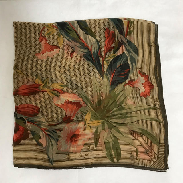 Ralph Lauren(ラルフローレン)のビンテージRalph Lauren シルクシフォンスカーフ Flower レディースのファッション小物(バンダナ/スカーフ)の商品写真